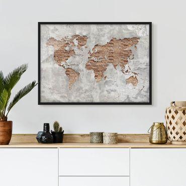 Bild mit Rahmen - Shabby Beton Backstein Weltkarte - Querformat 3:4