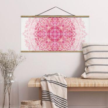 Stoffbild mit Posterleisten - Mandala Aquarell Ornament pink - Querformat 1:2