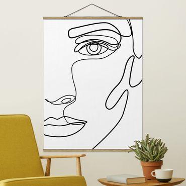 Stoffbild mit Posterleisten - Line Art Portrait Frau Schwarz Weiß - Hochformat 3:4