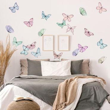 Wandtattoo - Schmetterlinge Aquarell Pastell Set