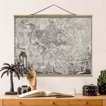Stoffbild mit Posterleisten - Vintage Stadtplan Rom - Querformat 3:4