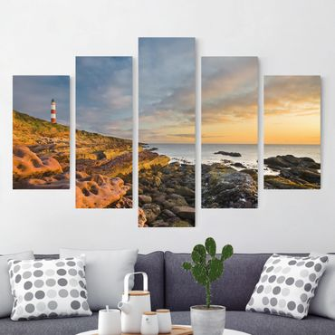 Leinwandbild 5-teilig - Tarbat Ness Meer & Leuchtturm bei Sonnenuntergang