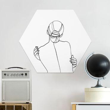 Hexagon Bild Forex - Line Art Frau Rücken Schwarz Weiß