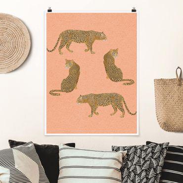 Poster - Illustration Leoparden Rosa Malerei - Hochformat 4:3