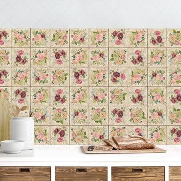 Küchenrückwand - Vintage Rosen und Hortensien