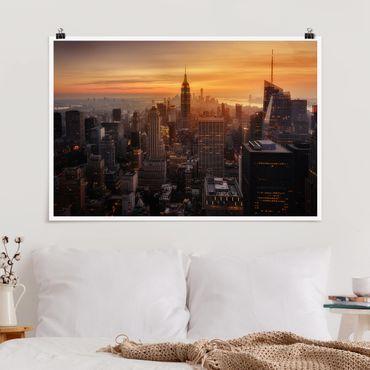 Poster - Manhattan Skyline Abendstimmung - Querformat 2:3