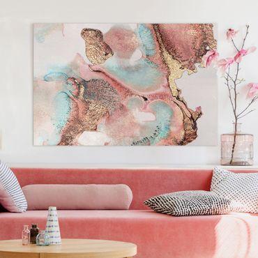 Leinwandbild - Goldenes Aquarell Rosé - Querformat 2:3
