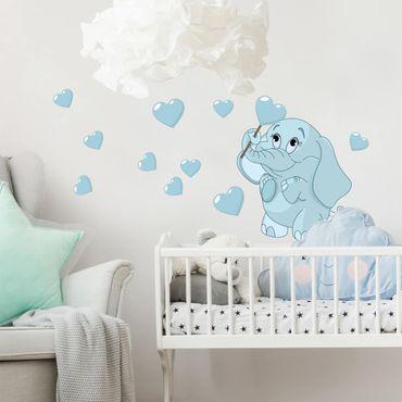 Wandtattoo - Elefantenbaby mit blauen Herzen