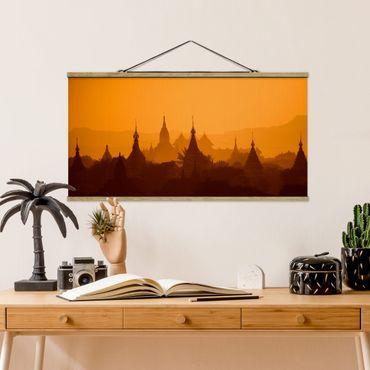 Stoffbild mit Posterleisten - Tempelstadt in Myanmar - Querformat 1:2