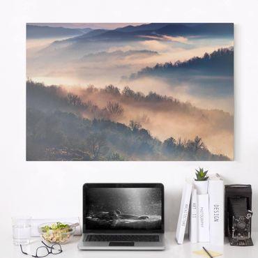 Leinwandbild - Nebel bei Sonnenuntergang - Querformat 2:3