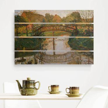Holzbild - Otto Modersohn - Bauerngarten mit Brücke - Querformat 2:3