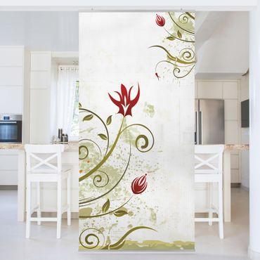 Raumteiler - Fire Flower 250x120cm