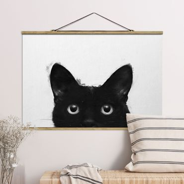 Stoffbild mit Posterleisten - Laura Graves - Illustration Schwarze Katze auf Weiß Malerei - Querformat 3:2
