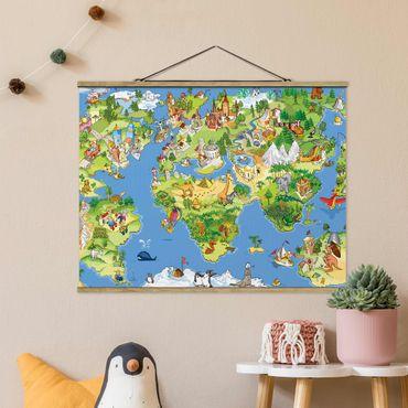 Stoffbild mit Posterleisten - Great and funny Worldmap - Querformat 3:4