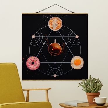 Stoffbild mit Posterleisten - Alchemie des Frühstücks - Quadrat 1:1