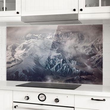 Spritzschutz Glas - Berge von Tibet - Querformat - 2:1
