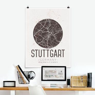 Poster - Stadtplan Stuttgart - Retro - Hochformat 3:4