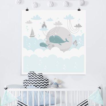 Poster - Wolken mit Wal und Schloss - Quadrat 1:1