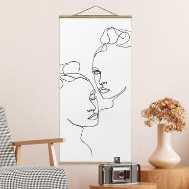 Stoffbild mit Posterleisten - Line Art Gesichter Frauen Schwarz Weiß - Hochformat 1:2
