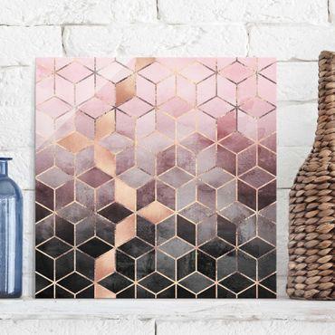 Glasbild - Rosa Grau goldene Geometrie - Quadrat 1:1