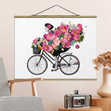 Stoffbild mit Posterleisten - Laura Graves - Illustration Frau auf Fahrrad Collage bunte Blumen - Querformat 4:3