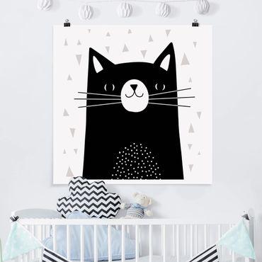 Poster - Tierpark mit Mustern - Katze - Quadrat 1:1