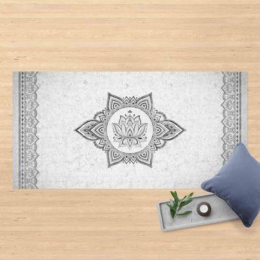 Vinyl-Teppich - Mandala Lotus Betonoptik - Querformat 2:1