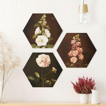 Hexagon Bild Alu-Dibond 3-teilig - Barbara Regina Dietzsch - Rosen und Levkkoje