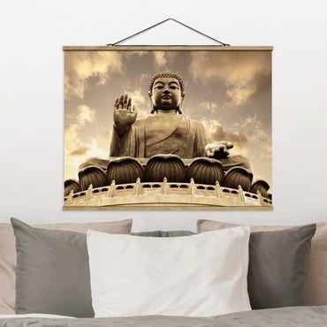Stoffbild mit Posterleisten - Großer Buddha Sepia - Querformat 4:3