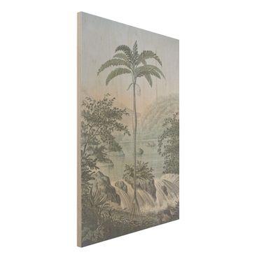 Holzbild - Vintage Illustration - Landschaft mit Palme - Hochformat 3:2