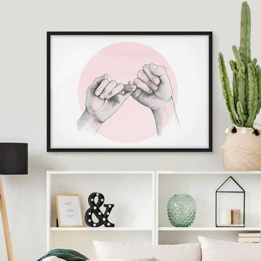 Bild mit Rahmen - Illustration Hände Freundschaft Kreis Rosa Weiß - Querformat 3:4