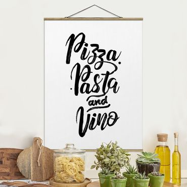 Stoffbild mit Posterleisten - Pizza Pasta und Vino - Hochformat 4:3