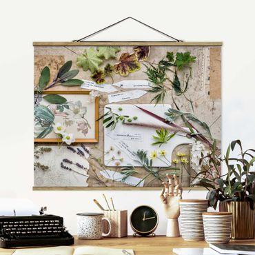 Stoffbild mit Posterleisten - Blumen und Gartenkräuter Vintage - Querformat 4:3