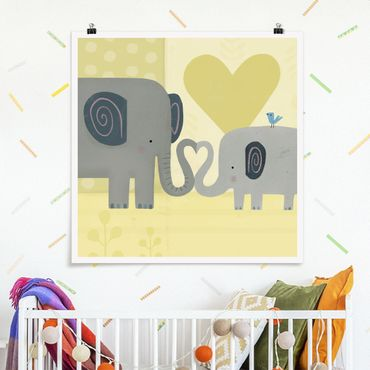 Poster - Mama und ich - Elefanten - Quadrat 1:1