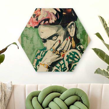 Hexagon Bild Holz - Frida Kahlo - Collage No.3