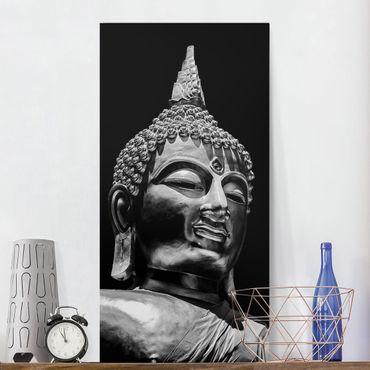 Leinwandbild - Buddha Statue Gesicht - Hochformat 2:1
