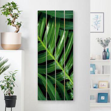 Holzbild - Tropische Blätter Philodendron - Hochformat 5:2