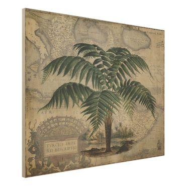 Holzbild - Vintage Collage - Palme und Weltkarte - Querformat 3:4