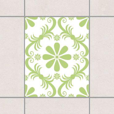 Fliesenaufkleber - Blumendesign White Sring Green