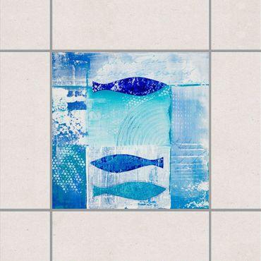 Fliesenaufkleber - Fish in the Blue Blau