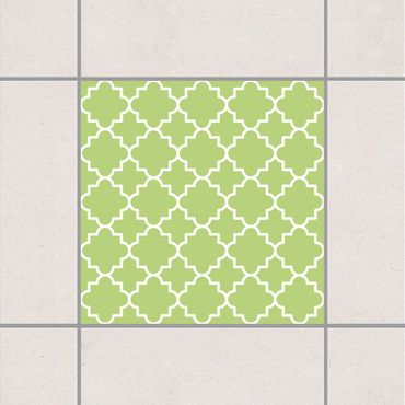Fliesenaufkleber - Traditional Quatrefoil Spring Green Grün