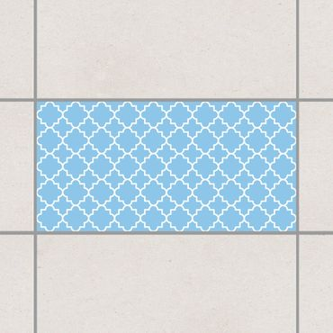 Fliesenaufkleber - Traditional Quatrefoil Light Blue Blau
