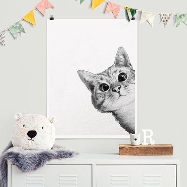 Poster - Illustration Katze Zeichnung Schwarz Weiß - Hochformat 4:3