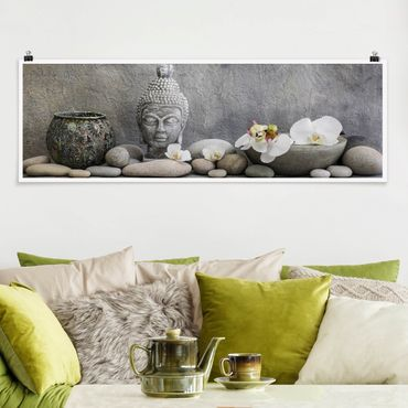 Poster - Zen Buddha mit weißen Orchideen - Panorama Querformat