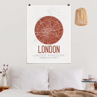 Poster - Stadtplan London - Retro - Hochformat 3:4