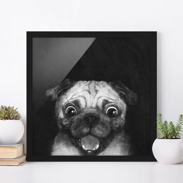 Bild mit Rahmen - Illustration Hund Mops Malerei auf Schwarz Weiß - Quadrat 1:1