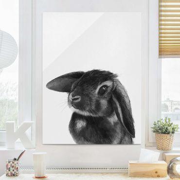Glasbild - Illustration Hase Schwarz Weiß Zeichnung - Hochformat 4:3