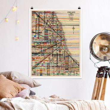 Poster - Moderne Karte von Chicago - Hochformat 3:4