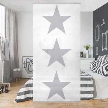 Raumteiler - Große graue Sterne auf Weiß 250x120cm