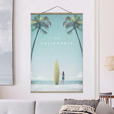 Stoffbild mit Posterleisten - Reiseposter - California - Hochformat 3:2